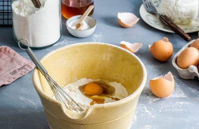 Bowl With Eggs, Flower And Whisk. Cake Baking. Cake Recipe.