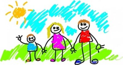 Child's Drawing Of Family. Blue Sky. Colourful Clothing.