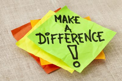 Sticky Note Saying Make A Difference. Post It Note.
