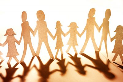 Group Of People Together Holding Hands. Family. Paper Cut Out People.