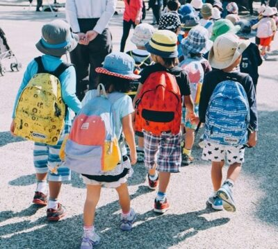 Children wearing backpacks, going to school.
